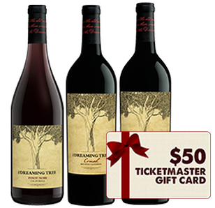 The Dreaming Tree Red Wine 3 Pack + $50 Ticketmaster Gift Card